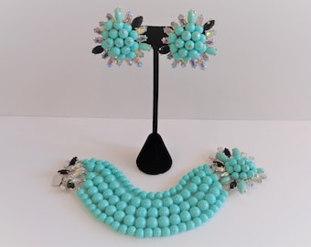 Wow!  Vintage Signed Schiaparelli Turquoise Bead & Rhinestone Bracelet and Earrings Set