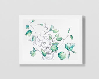 Eucalyptus Leaves Art Print Pen and Ink Line Drawing Wall Art