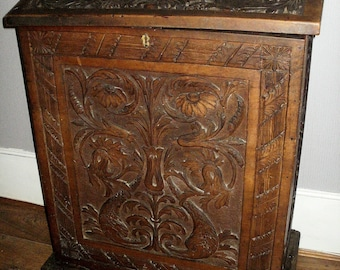 Original Heavily Carved Wooden Lectern 19th Century Ecclesiastical