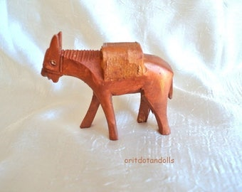 DONKEY-Wooden handcrafted camel made of olive wood in Bethlehem, hand painted by me.
