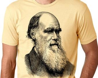 Darwin Portrait evolution T-Shirt Charles Darwin Tee Evolution shirts Evolve Atheist shirts