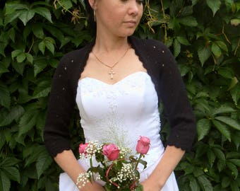 Black Bridal Bolero Shrug,Wedding Angora Bolero Shrug