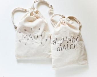 Wood Alphabet and Math Educational Games / Montessori Learning Set / Kindergarten / Homeschool Learning Set / Reggio Learning