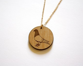 Bird necklace, wooden animal collar, wood engraved jewel, brass long chain gold color, natural jewelry, hippie style, made in France, Paris
