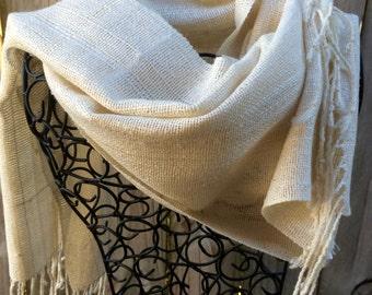 Handwoven Scarf 'Fresh Cream' Silk Wrap
