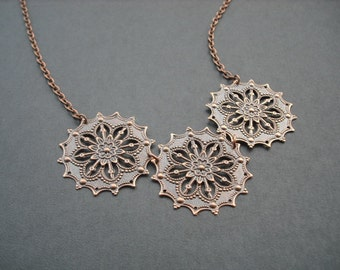 star flower stamped necklace - antique copper