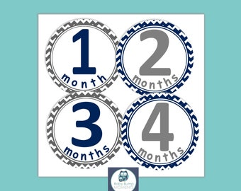 Month Stickers Boy,  Baby Shower Gift, Milestone Stickers, First Year Stickers,  New Mom Gift, Blue Gray Chevron, Monthly Baby Stickers