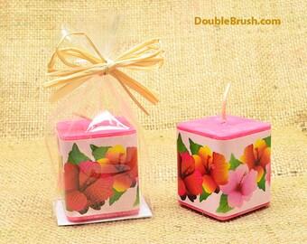 Hibiscus Candle Hawaiian Party Favor Hawaiian Candle Tropical Candle Hibiscus Gift Hibiscus Favor Scented Candle  Hibiscus Wedding Favor