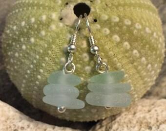 Sea glass jewelry- Sea Foam green Sea glass earrings