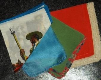 vintage linen ... SILKY 4 pack of colourful VINTAGE HANKIES ...