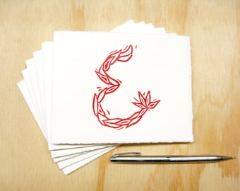 Letter E Stationery - Personalized Gift - Set of 6 Block Printed Cards