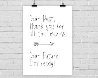 fine-art print poster DEAR PAST / FUTURE letter inspiring quote