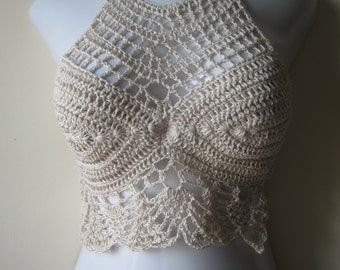 Crochet halter top,  crochet cropped top, halter top, FESTIVAL CLOTHING ,boho chic cropped  top, beach cover up, gypsy top, cotton