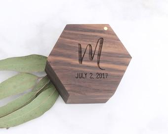 Personalized Wedding Ring Box, Engraved Engagement Ring Box, Geometric Ring Box, Wood Ring Box, Walnut Ring Box, Rustic Ring Box