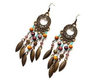 Jasper Chandelier earrings Beaded earrings Gems earrings Boho gypsy earrings Hippie earrings Assemblage earrings Boho Jewelry Gift for her