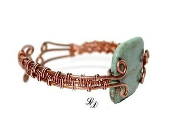 Adjustable Copper bracelet with turquoise, unisex, boho, rocker, one of a kind, boho, unique, contemporary, braided, free shipping