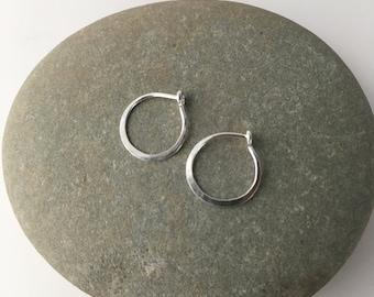 Silver Hoop Earrings, Tiny Hoop Earrings, Delicate Silver Hoops, Small Silver Hoops, Hammered Hoops, Hammered Hoop Earrings