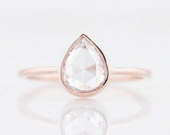 Engagement Ring Modern .82 Rose Cut Diamond in 14K Rose Gold