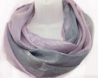 Pink Silver Scarf, Birthday gift for Teenager Gift, Cancer patient gift, Birthday Gift for Sister in Law, Gift from Dad to daughter under 20