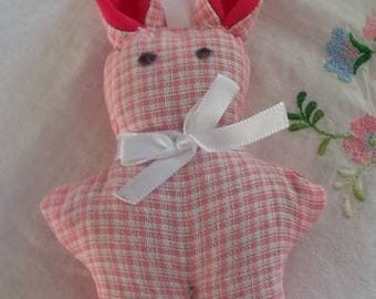 Plain Bunny Pink and lavender pink gingham
