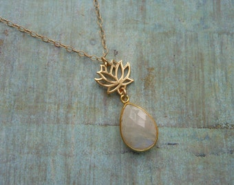 Gold Lotus Flower Necklace, Moonstone Jewelry, Gold Filled,Gold Necklace, Yoga, Gemstone Necklace, Gift for Her, Spiritual Jewelry