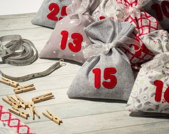 Advent calendar Christmas decor Gray red advent bags for gift Kids advent Xmas garland Christmas bags xmas calendar Bunting holiday gift bag