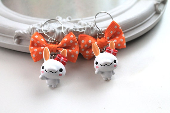 White bunny rabbit and orange  Bow Earrings