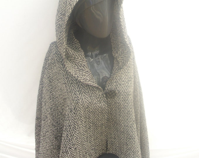Hooded Wool Black and White Herringbone Cape