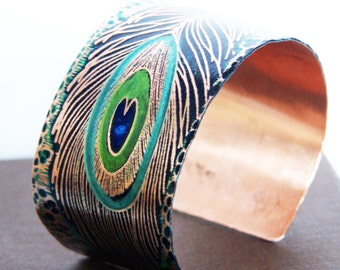 Peacock Feather - Etched Copper Art Jewelry Cuff Bracelet