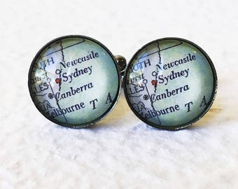 Sydney, Australia Map Cufflinks Cuff Link Set - YOU PICK your map - Featuring Canberra, Newcastle, Wollongong, and more