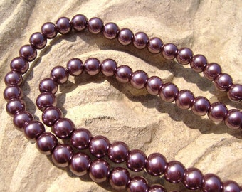 Pearlescent Glass Pearl Pearls Beads Plum Purple 4mm Round LARGE 30mm Strand