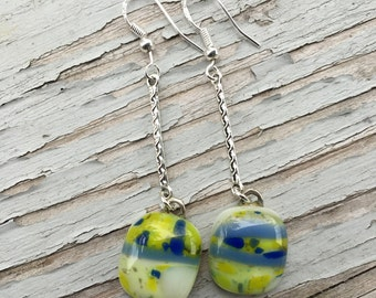 Beautiful Fused dangle earrings in greens and blues