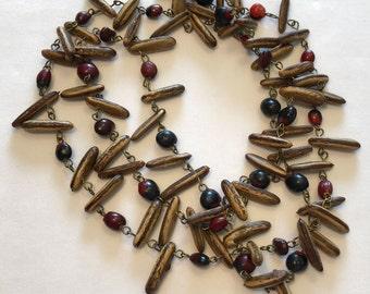 VINTAGE - NATURAL SEEDS Beaded Necklace