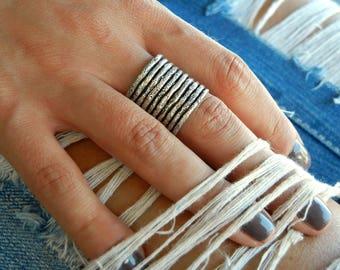 Adjustable Ring, Stacking Rings, Adjustable Sterling Silver Stacking Rings, Stacker Rings, Boho Stacking Rings, Cuff Style Adjustable Ring