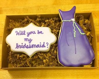 bridesmaid decorated cookie set