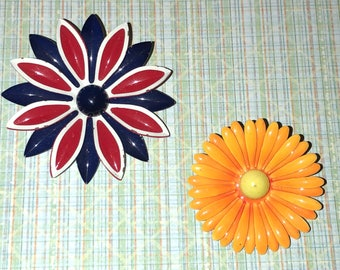 2 1960's Flower Power Retro Pins