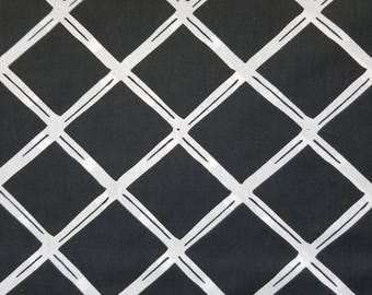 Black Lattice Fabric, VL Black Diamonds Polyester Cotton Blend Fabric