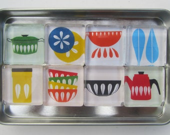 Mid Century Modern Themed Refrigerator Magnets, Set of 8 Fridge Magnets with Storage Tin - Catherine Holm images Magnets