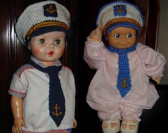 Little Captain, Sailor Cap/Hat and Tie, Newborn, Baby, Toddler - INSTANT DOWNLOAD Crochet Pattern