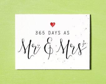 First Wedding Anniversary Card, Instant Download Printable, 365 Days, Mr & Mrs, First Anniversary Gift, Anniversary Card, Wedding Gift, Love