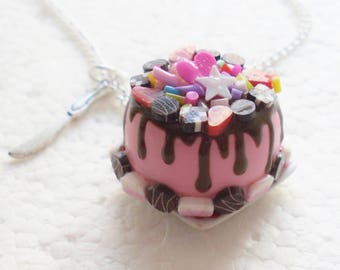 Celebration Cake Pendant.  Polymer clay