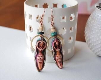 Goddess Earrings, Talisman Jewelry, Earthy Earrings, Bohemian Artisan Made Earrings, Rustic, Beaded Earrings, Polymer Clay Earrings