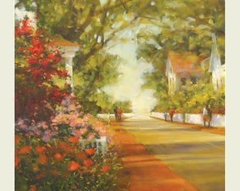 Landscape painting, Landscape print, Wall art, Home Decor, Art print, Giclee print, oil painting, vertical painting, Village,  Maine Art,
