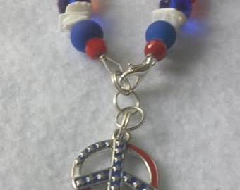 Red, white and blue  handmade patriotic  bracelet  Free shipping!