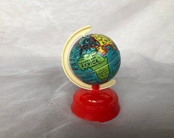 Vintage Globe Pencil Sharpener - Made in US Zone Germany Toy Tin - Miniature World Globe Pencil Sharpener - US Zone Germany Collectible