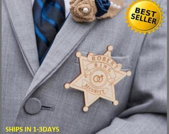 Ring Security Badge, Ring Bearer Badge, Ring Bearer Security Badge, Ring Bearer Gift, Personalized Badge, Star Badge, Security Badge