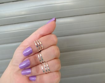 Silver Thin Ring ,Silver stacking rings , Above Knuckle Rings,  8 Silver rings ,Midi Rings .