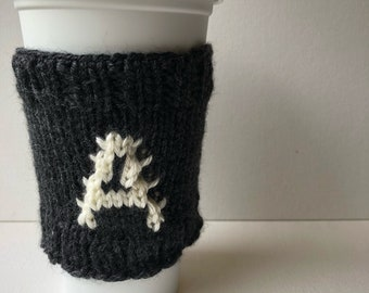 Monogrammed coffee cup cozy - letter A - reusable knit travel mug sleeve
