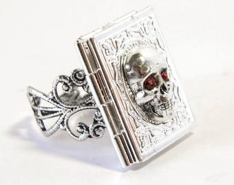 Skull poison ring, Gothic ring, silver locket, keepsake jewelry, red crystal, locket ring, Gothic jewellery, filigree ring, poison book