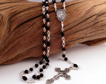 Our Lady of Fatima Rosary Beads With Sacred Heart of Jesus and Italian Crucifix in Black Onyx by Unbreakable Rosaries